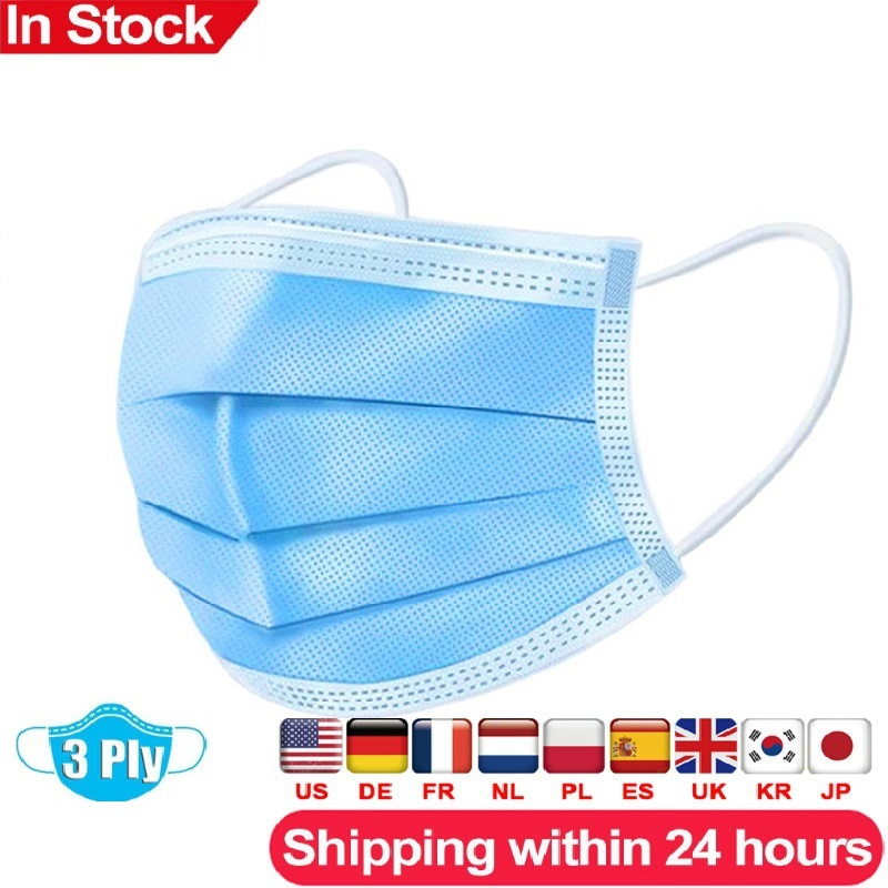 Fast Delivery Hot Sale 3-layer Mask 50pcs Face Mouth Masks Non Woven Disposable Anti-Dust Masks Earloops Masks