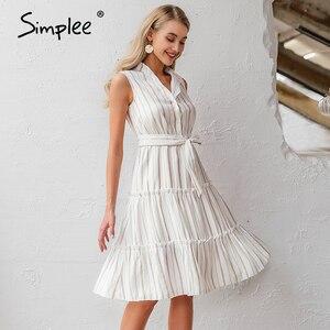 Image 3 - Simplee Vestido largo informal a rayas para verano sin mangas