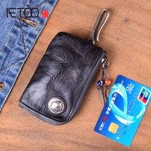 2019 hakiki inek deri anahtar cüzdan erkekler kadınlar kısa Vintage el yapımı fermuar araba anahtarı kart tutucu bozuk para cüzdanı organizatör kahya