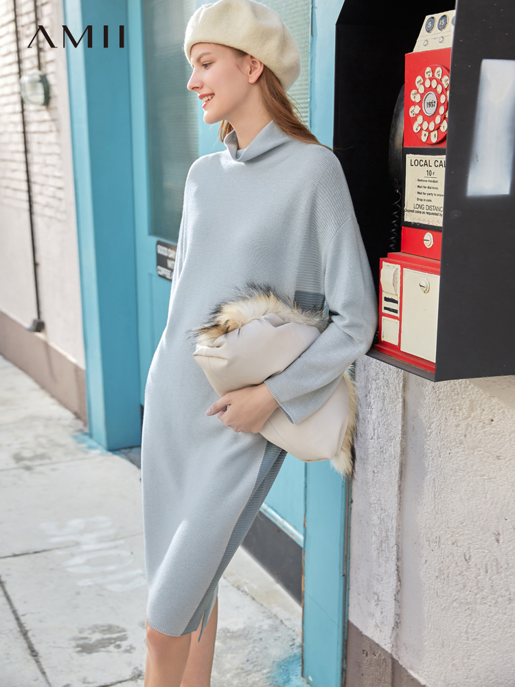 Amii Spring French Women's Fashion Dress Women's New Loose Skirt Mid Long Knitting Dress 11920295