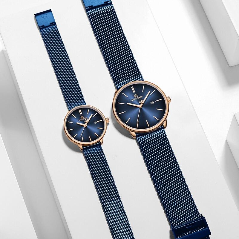Couple montres NAVIFORCE Top marque en acier Quartz montre-bracelet pour hommes et femmes étanche Date mâle horloge cadeau Relogio Feminino - 3