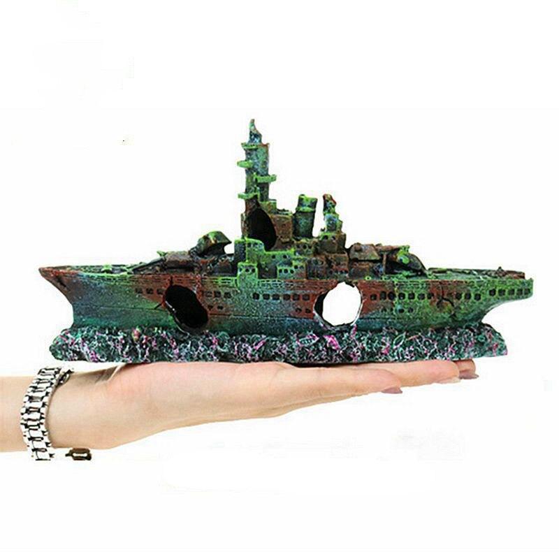 Aquarium aménagement paysager décoration ornements eau herbe aménagement paysager avec épave navire briser fond navire de guerre épave