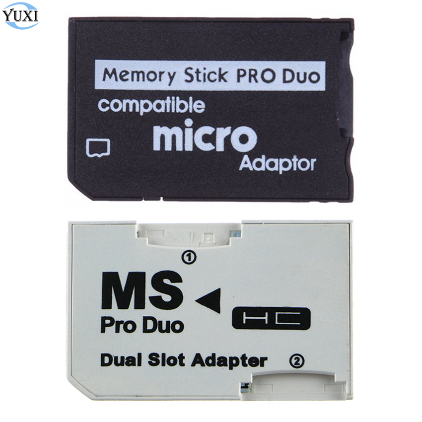YuXi Single Dual Memory Card Adapter Micro SD Card to Memory Stick MS Pro Duo for PSP Card Slot Adapter image