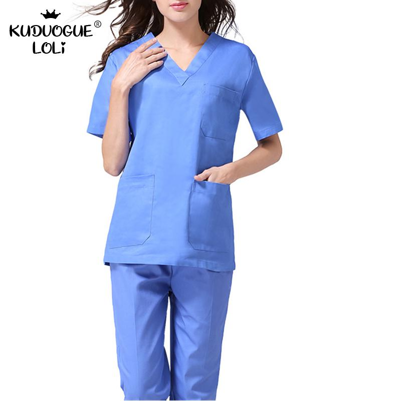 Quality Unisex Adults Medical Doctor Nursing Scrubs Costume Uniform Suits V-neck Short Sleeves Top With Elastic Waisted Pants