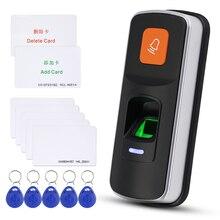 Samodzielny RFID System kontroli dostępu z czytnikiem linii papilarnych biometryczne 125KHz czytnik mechanizm otwierania drzwi obsługa kart SD WG26 + 10 sztuk kart pilotów