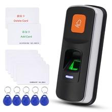 Sistema de Control de Acceso de huellas dactilares RFID independiente, lector biométrico de 125KHz, abridor de puerta, compatible con tarjeta SD WG26 + 10 Uds.