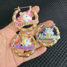 Customize Unicorn Name Earrings Bamboo Style Custom Hoop Earrings With Statement Words Numbers C34