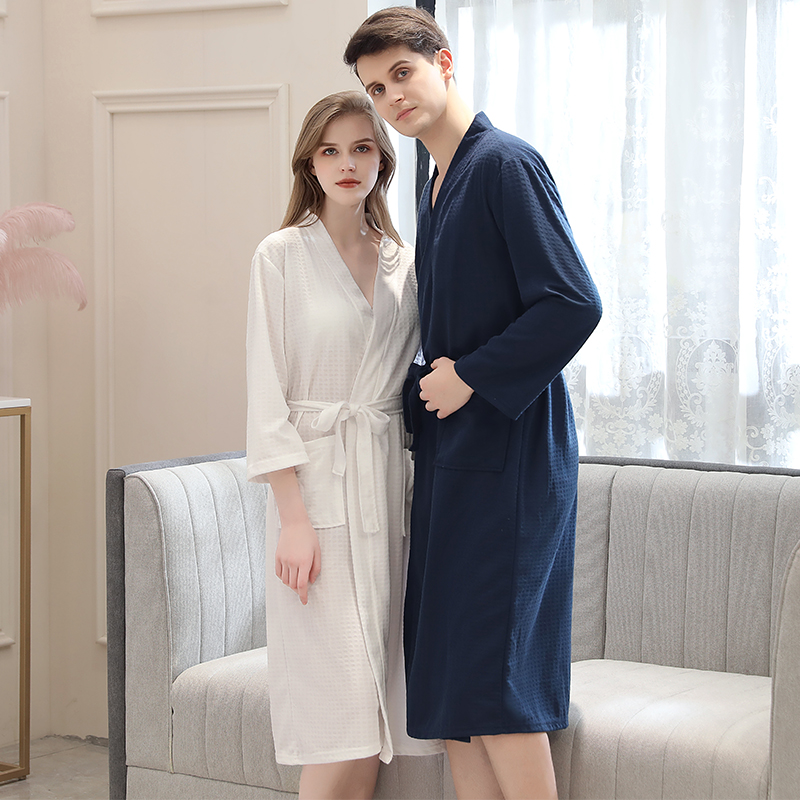 Image 3 - Lovers Summer Fashion  Waffle Bathrobe Women Suck Water Kimono Bath Robe Plus Size Sexy Peignoir Dressing Gown Bridesmaid Robes-in Robes from Underwear & Sleepwears on AliExpress