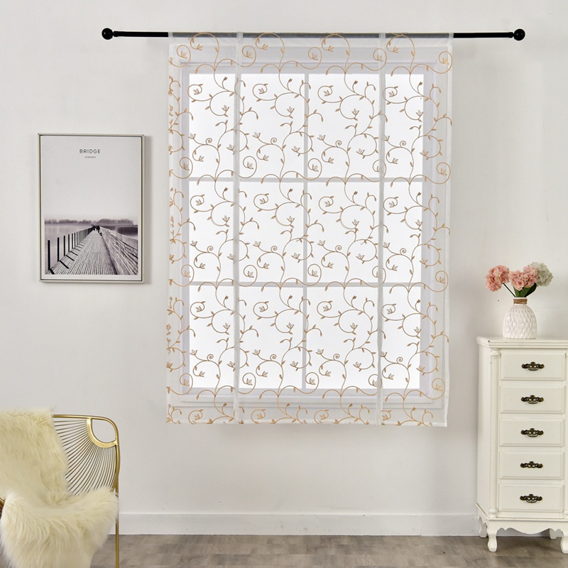 Short Curtain Jacquard Roman Blind Floral White Sheer Panel Blue Tulle Window Door Kitchen Curtains Home Decoration Accessories in Curtains from Home Garden