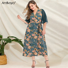 Amtivaya Early Spring and Summer Dresses 2020 Deep V neck half Sleeve Ruffles Patchwork Casual Plus Size Midi Dress for Women ..(China)