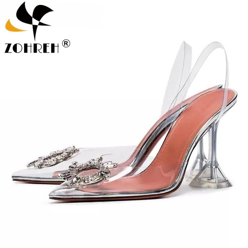 Zapatos transparentes de PVC con tacón de aguja para mujer, sandalias femeninas sexy de punta abierta, copa de cristal transparente, puntiagudos, talla 43, para verano