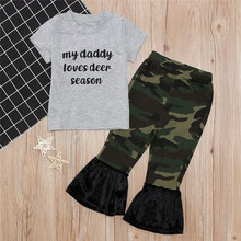 Get more info on the 2019 Fashion Baby Clothes Infant Baby Girl Boy Short Sleeve T shirt Tops Leopard Print Flare Pants Clothes Set