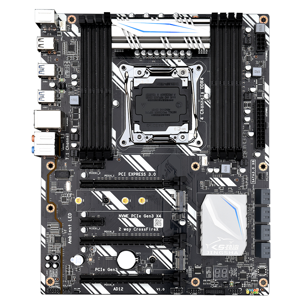 <font><b>X99</b></font> D8 ATX motherboard LGA2011 V3 USB3.0 NVME M.2 SSD support Crossfire wifi 8 DDR4 memory and Xeon E5 V3 2678 2680 processor image