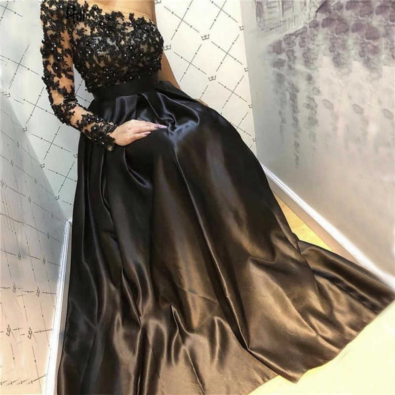 Bepeithy Schulter Schwarz Lange Abendkleid Partei Elegante Robe De Soiree Langarm Vintage Abendkleid 2021 Evening Dresses Aliexpress