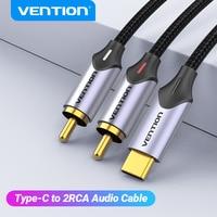 Vention cavo Audio da USB C a RCA tipo C a 2 cavo RCA per amplificatore per altoparlanti Huawei Xiaomi Laptop 1m 2m 3m USB C Splitter RCA Y