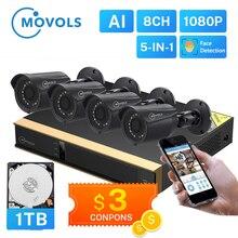 Movols 8CH AI CCTV מצלמה מערכת 4PCS 2MP חיצוני עמיד אבטחת מצלמה DVR ערכת H.265 בית מעקב וידאו מערכת