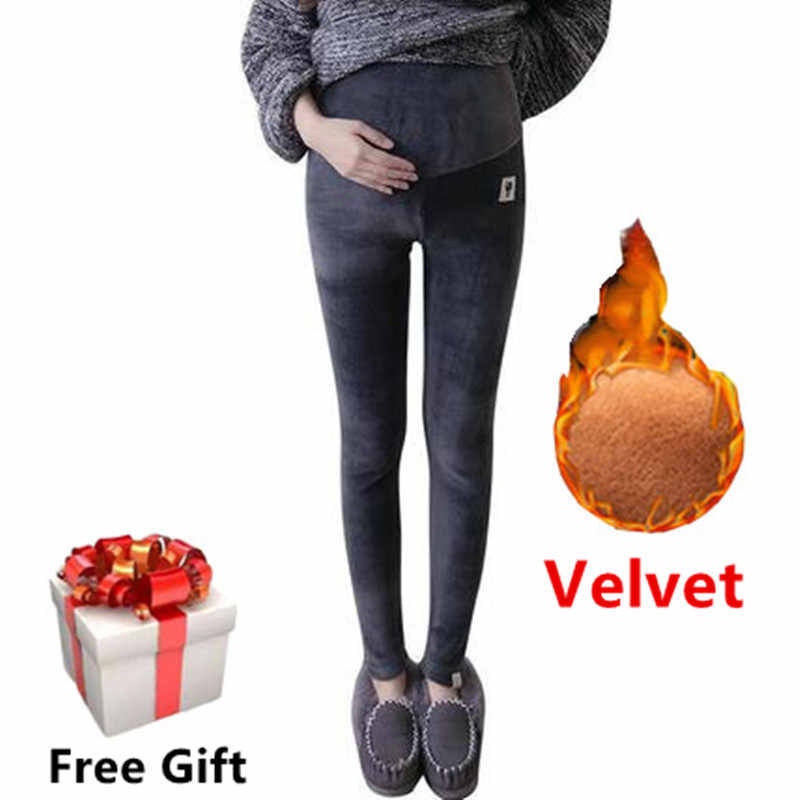 Winter Maternity Leggings Thick Adjustable Waist Velvet Line Pregnant Women Pregnancy Clothes Pants Ropa Mujer Maternal