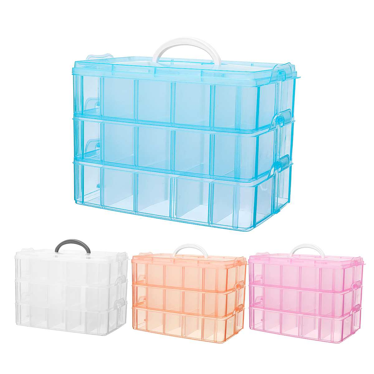 3 Layer Grids Jewellery Craft Beads Case Box Plastic Storage Box Case Compartment Box Clear Storage Organiser Tool|Storage Boxes & Bins| |  - title=