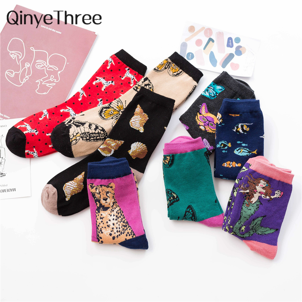 New Cute Cartoon Animal Socks Funny Dalmatian Dog Leopard Cat Butterfly Conch Shell Underwater World Sox Retro Christmas Gift