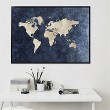Abstract World Map Canvas Painting Classical Blue Print On for Office Room Picture Wall Art Cuadros Decor