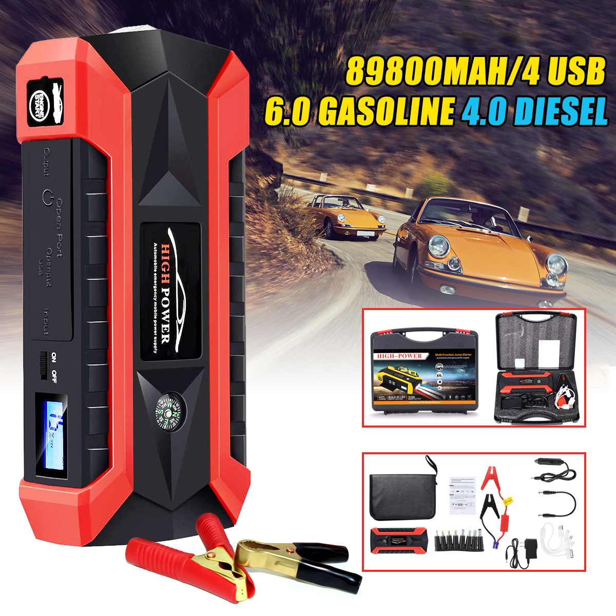 Car Jump Starter Booster-Starting-Device Battery-Power-Bank Emergency-Charger Multifunction title=