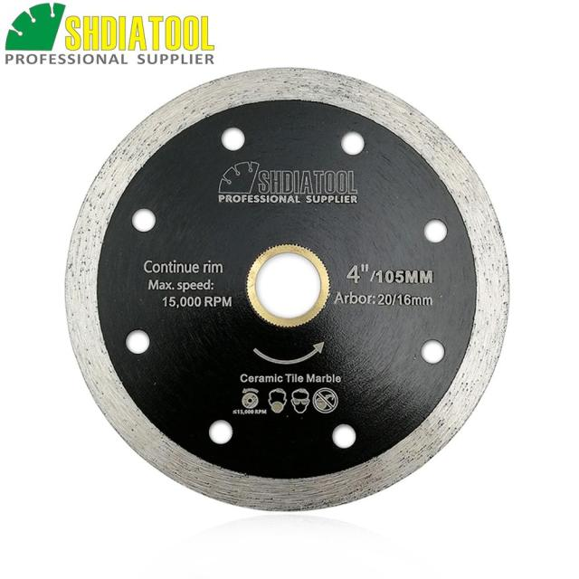 "SHDIATOOL 2pcs Dia 4""/105mm Hot-pressed Continue Rim Diamond Blade Cutting Disc Ceramic/Tile Saw Blades Diamond Wheel"
