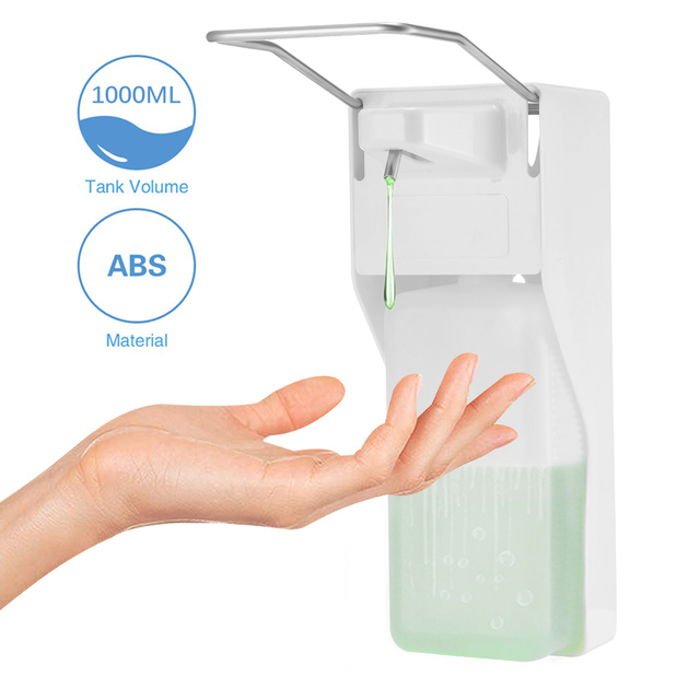 ABS plastic 1000ml liquid soap dispenser hospital hotel kitchen wall mounted elbow hand sanitizer hygienic Drip /spray version