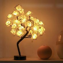 Lampa stołowa LED różowe drzewo kwiatowe USB lampki nocne girlandy imprezy walentynki ślub dekoracja do domu do sypialni oświetlenie kwiatowe tanie tanio VKTECH NONE CN (pochodzenie) Łóżko pokój Z tworzywa sztucznego Dotykowy włącznik wyłącznik Żarówki led Klasyczne