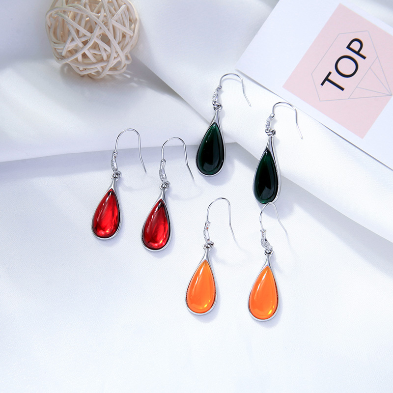 Kissme 2020 New Dangle Earrings For Women Gifts Red Green Yellow Resin Teardrop-shaped Drop Earrings Fashion Jewelry Accessories