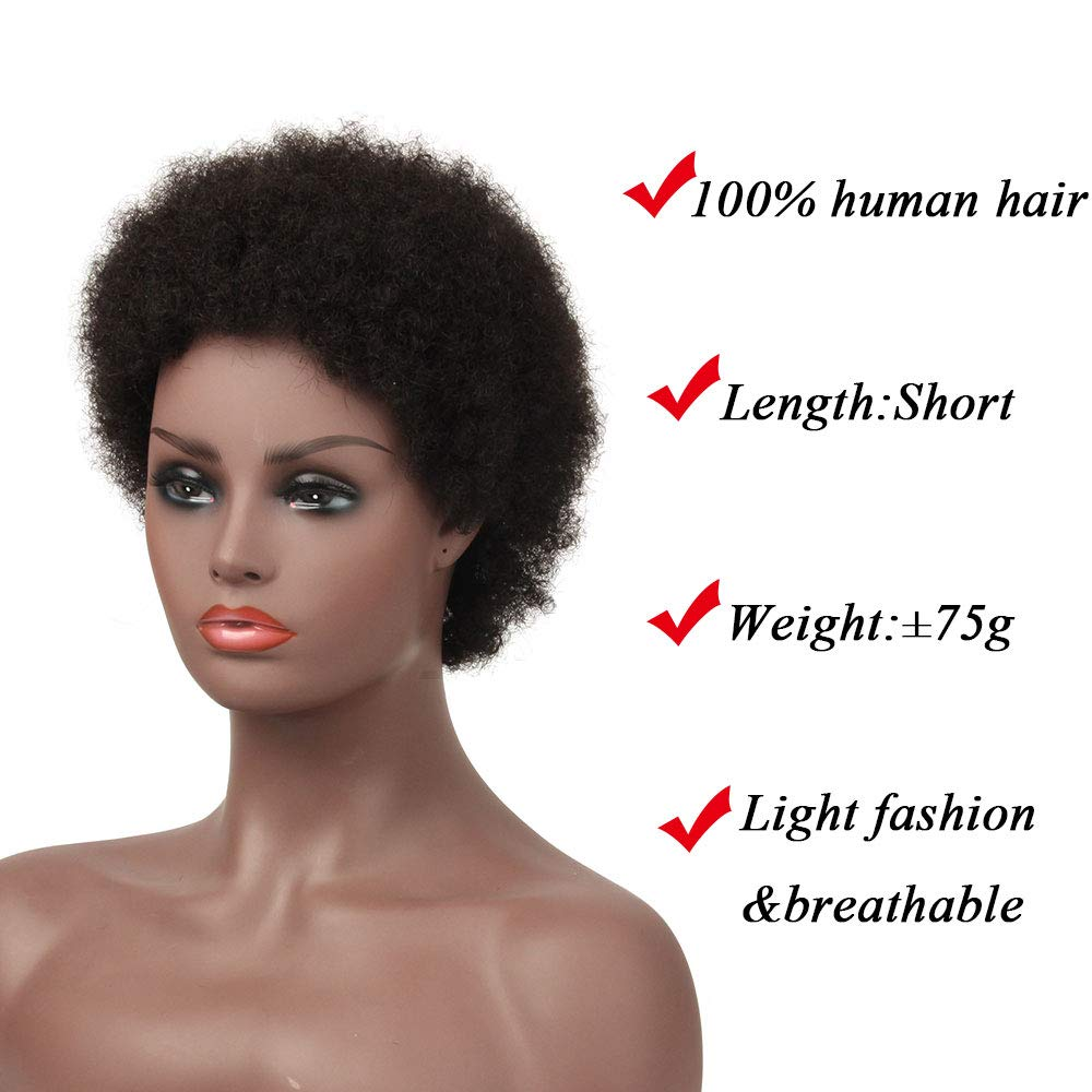 Short Afro Nature Dream Curl 100% Remy Human Hair Brazilian Wig Machine Made Natural Black Color Wigs Human Hair For Women