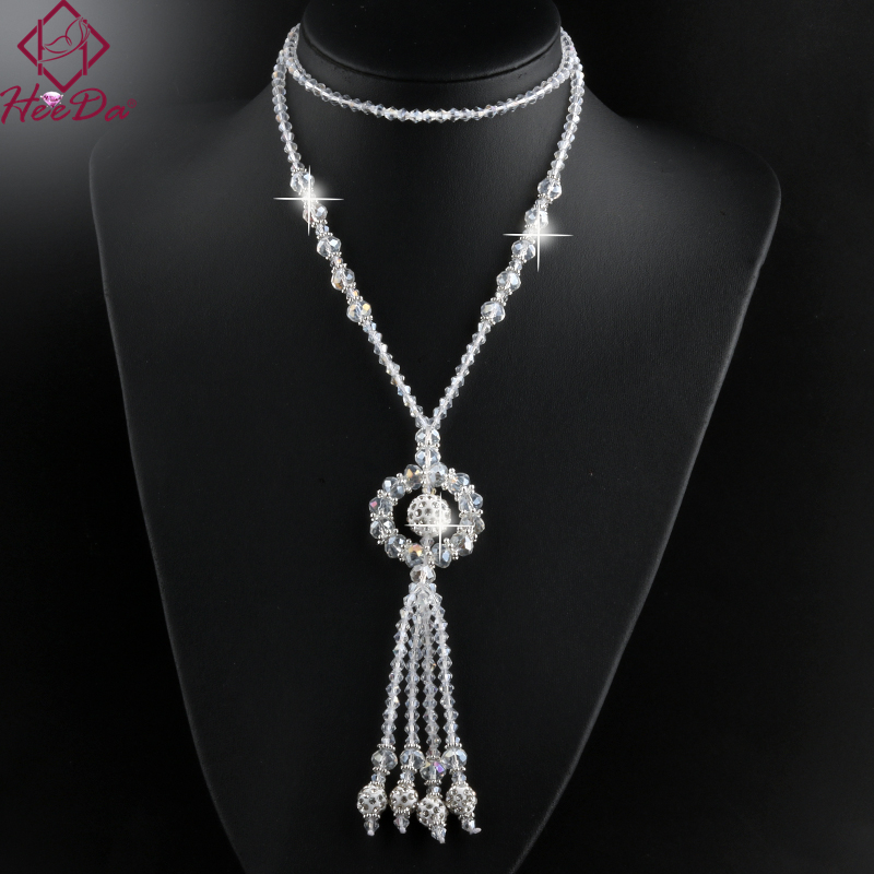 2020 New Arrival Unique Round Tassel Long Necklace Women Shiny Crystal Beads Sweater Chain Elegant Birthday Gifts for Lady