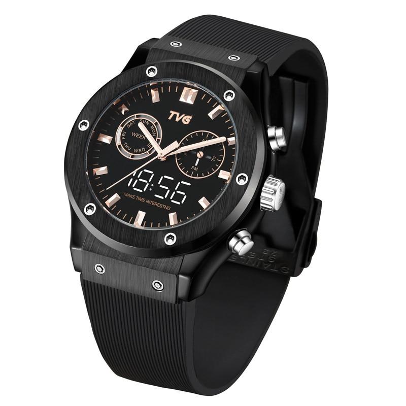 Man watches TVG KM901 Rose Gold White Light Luminous Dual Display Quartz Watch PU Band Waterproof LED Digital Men Sport clock