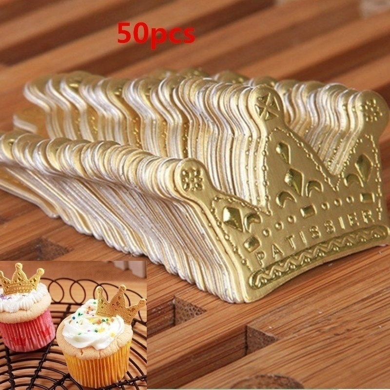 50Pcs/lot Gold Princess Crown Cake Topper Favors Party Cupcake Picks Wedding Birthday Decorations Accessories(China)