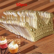50 Stks/partij Goud Prinses Kroon Cake Topper Gunsten Party Cupcake Picks Bruiloft Verjaardag Decoraties Accessoires(China)