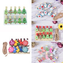 Craft Decoration Photo-Clips Wooden Christmas Mini Heart Pegs Snowman Owl-Shaped Natural