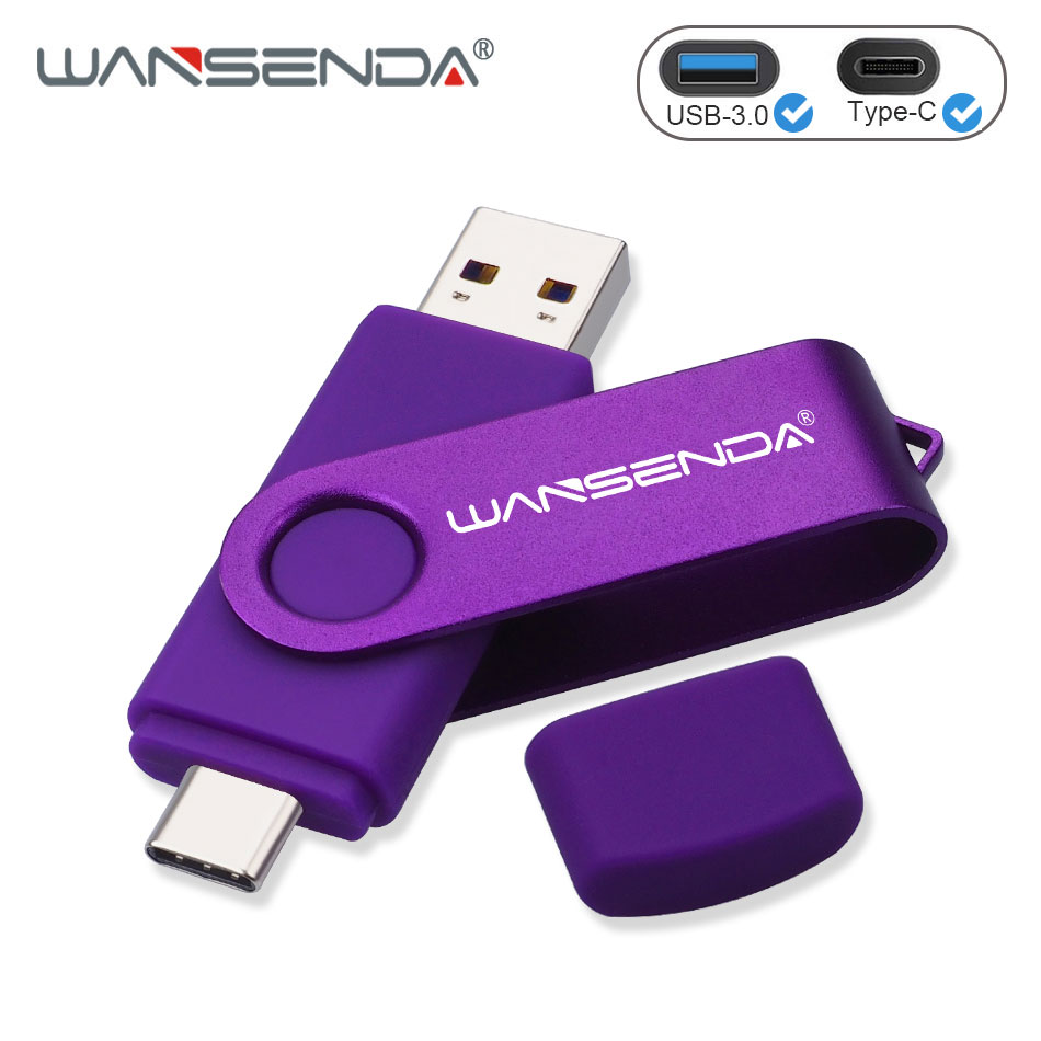 WANSENDA OTG USB Flash Drive 2 in 1 USB3.0 & Type-C Pen Drive 512GB 256GB 128GB 64GB 32GB 16GB High Speed Pendrives Flash Disk