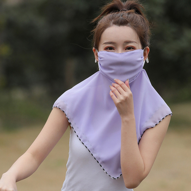 Fashion Woman Printing Mask High Quality Chiffon Neck Protection Breathable Mask Solid Color Sunscreen Mask For Cycling 3
