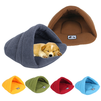 Soft and Warm Pet Beds of Fleece Material for winter in Cave Design Suitable for Puppies and Cats