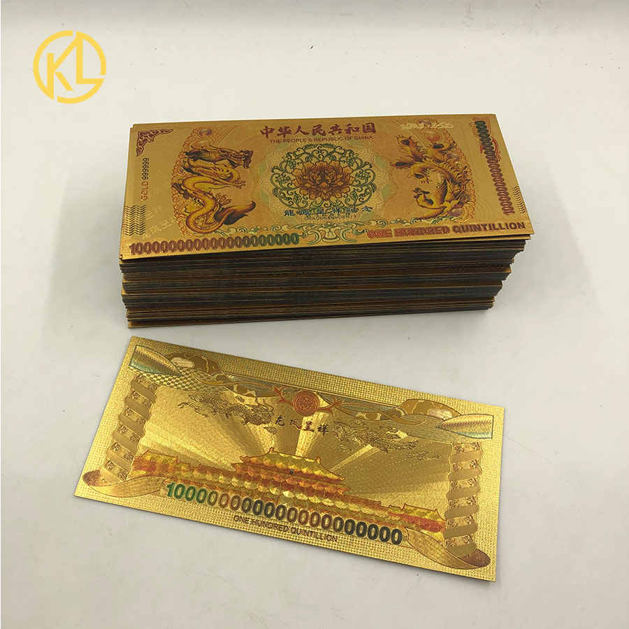 100 pcs//lot One Hundred Quintillion Chinese Dragon and Phoenix Banknote for gift