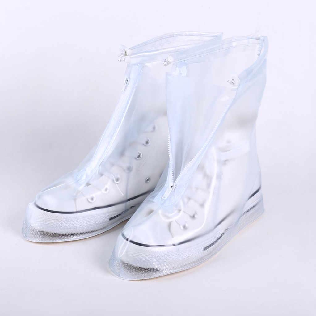 ผู้ชายผู้หญิงกันน้ำฝนรองเท้าปกรองเท้าส้นสูง Reusable รองเท้าหนาแพลตฟอร์มลื่น Rain รองเท้า FW3