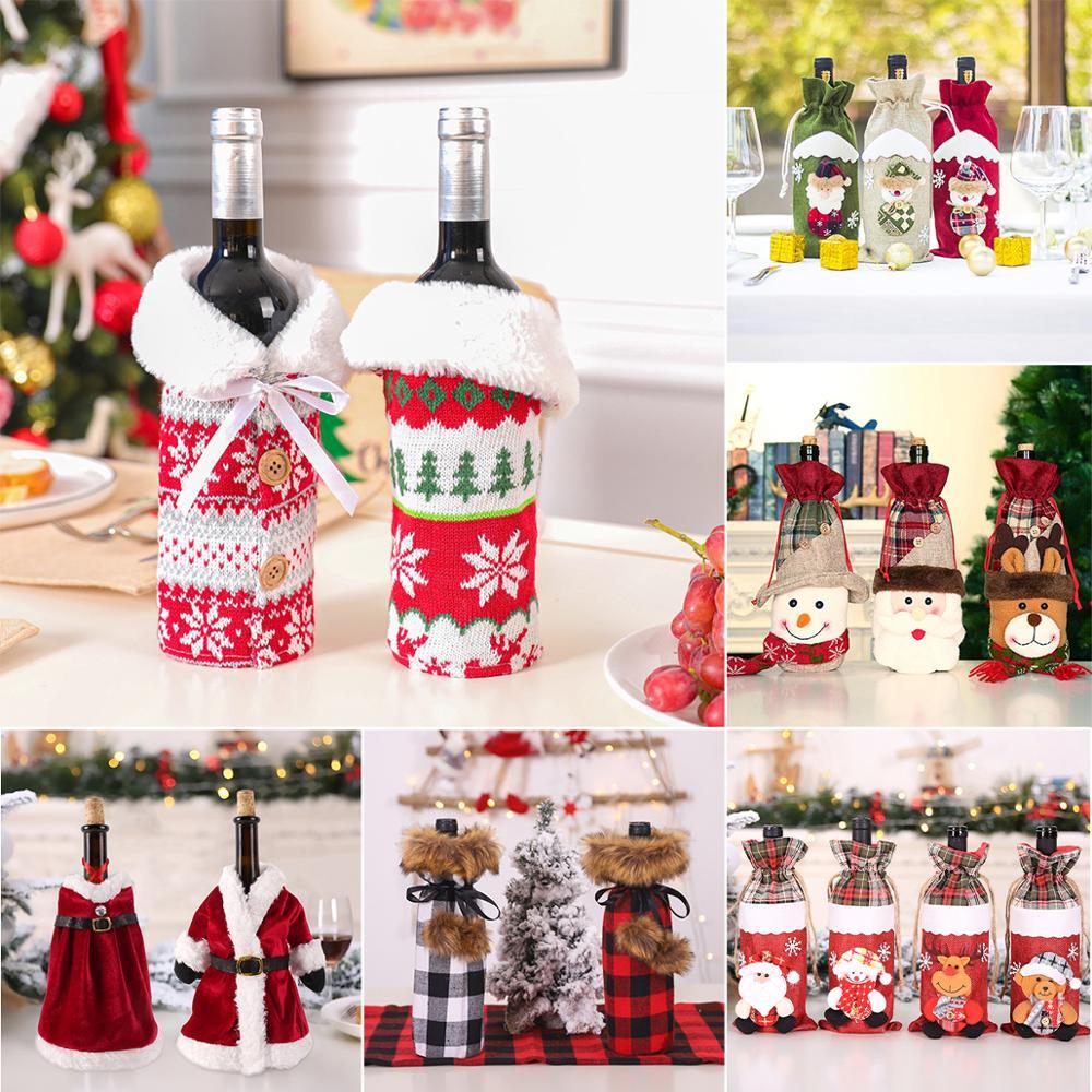 Weihnachten Schneemann Wein Abdeckungen Santa Claus 2020 Frohe Weihnachten Küche Weihnachten Dekor für Haus Tisch Cristmas Neue Jahr 2021