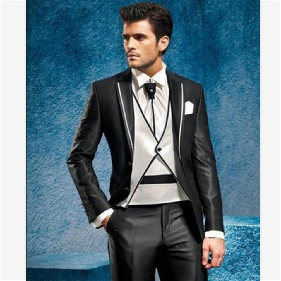New Classic Men's Suit Smolking Noivo Terno Slim Fit Easculino Evening Suits For Men Charcoal Groom Tuxedos Wedding Party Brideg