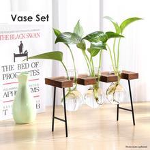 Vase Wooden-Tray Glass Plant Container Desktop-Decor Hydroponic Transparent Creative