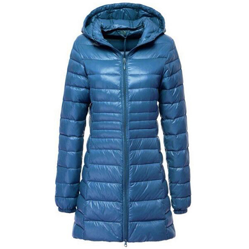 2019 Winter Jackets Women White Duck Down Long Jacket Female Padded Hooded Parkas Ultra Light Portable Down Coats Casacos 7XL