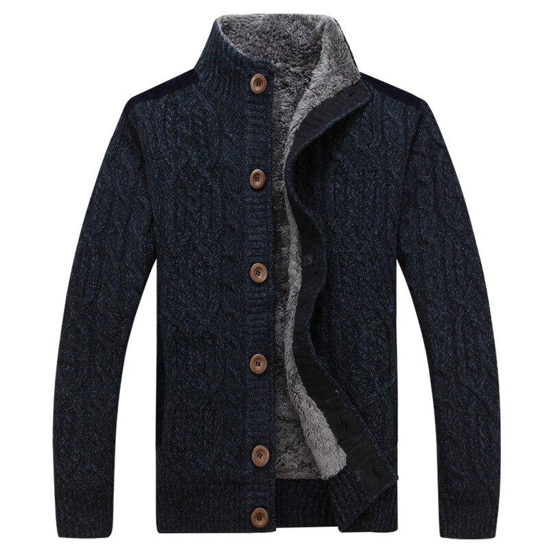 Mens Thick Sweaters Winter Autumn Men Sweater Coat Velvet Warm Cardigan Jacket Male Brand Clothing J6T859