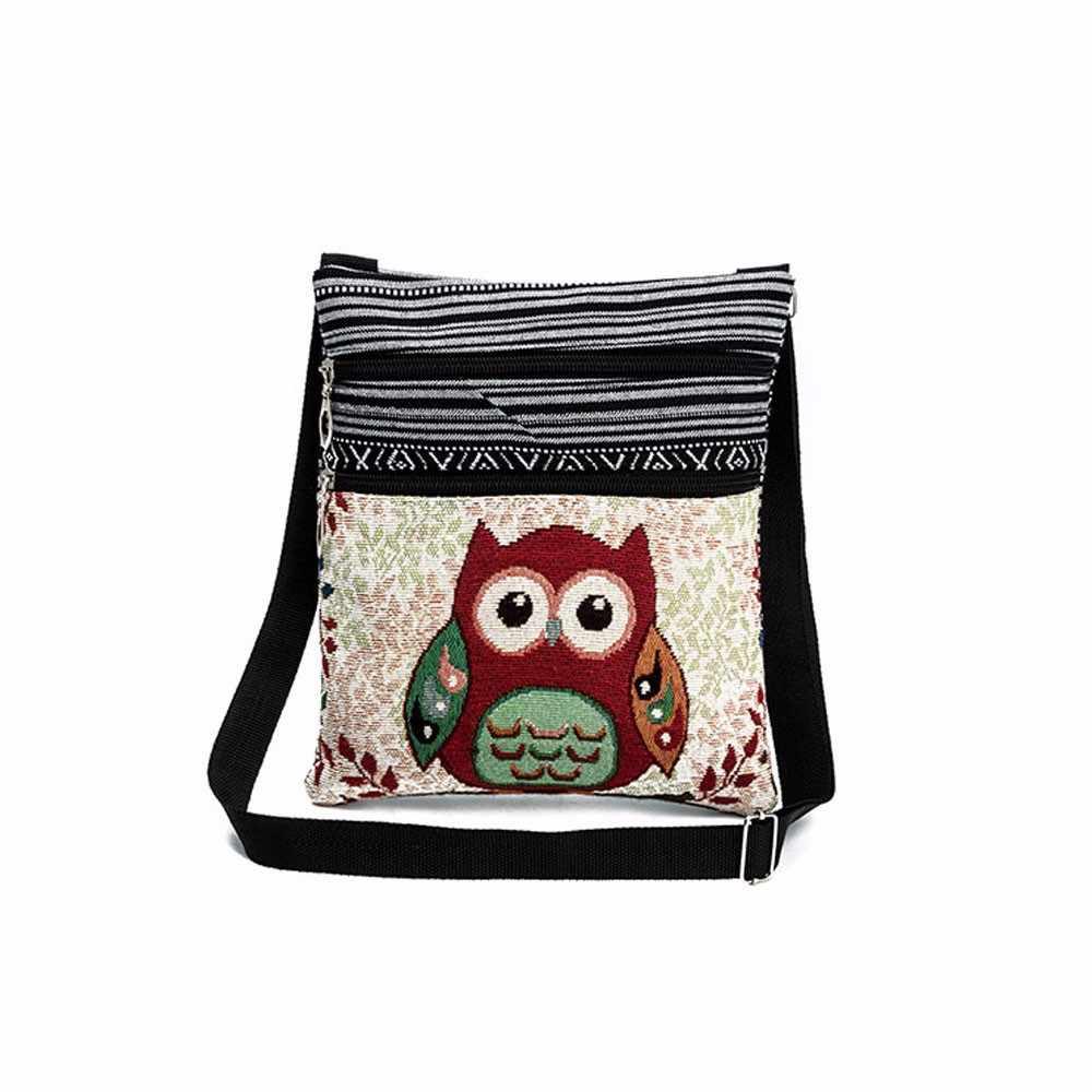 デュアル Zip 形式漫画フクロウ刺繍ショッピングデートレディースガールズショルダーバッグファッションエスニックスタイル女性メッセンジャーバッグボルサ