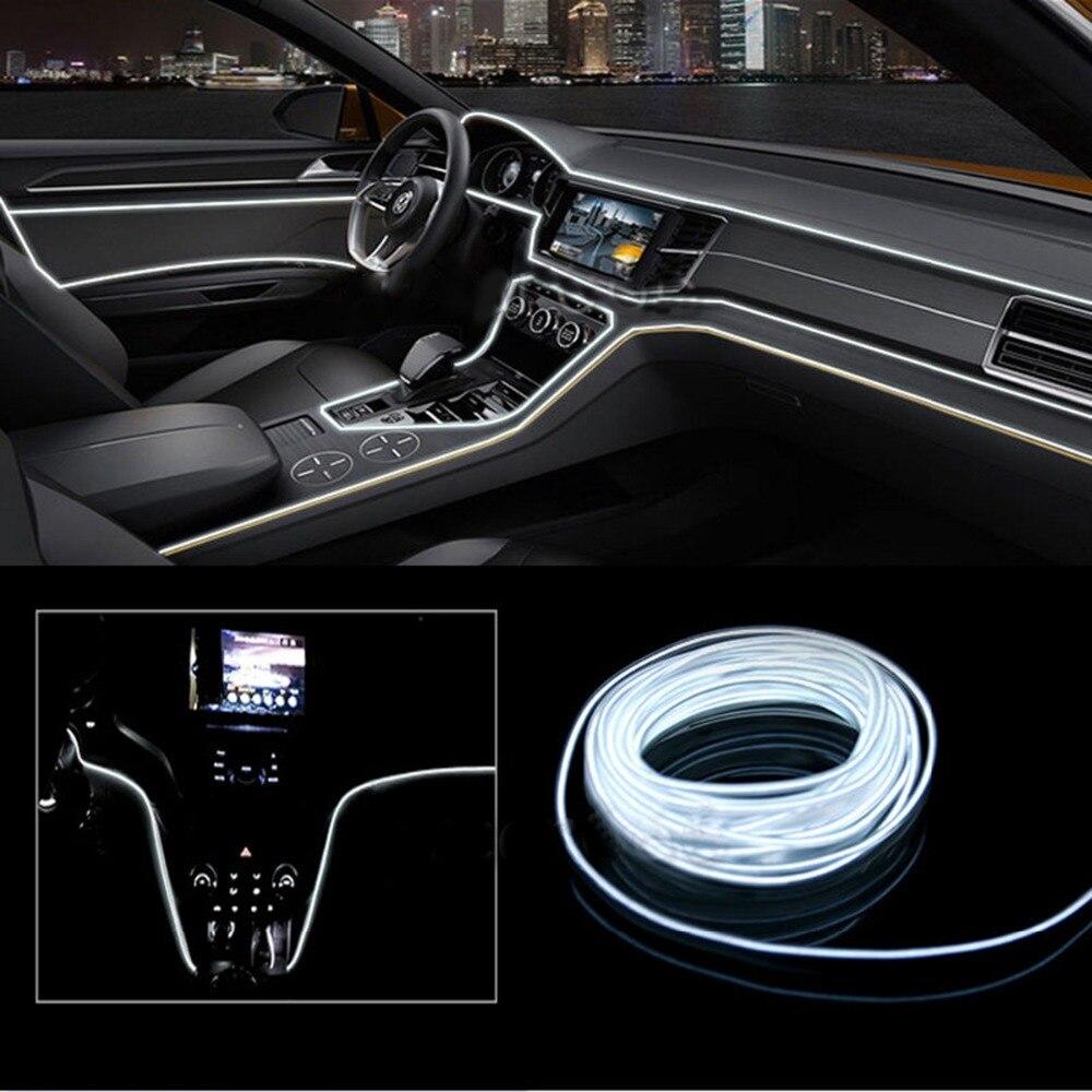 2 metros de iluminación Interior del coche tira de LED automática EL cable de alambre Auto lámparas decorativas luz de neón Flexible DIY