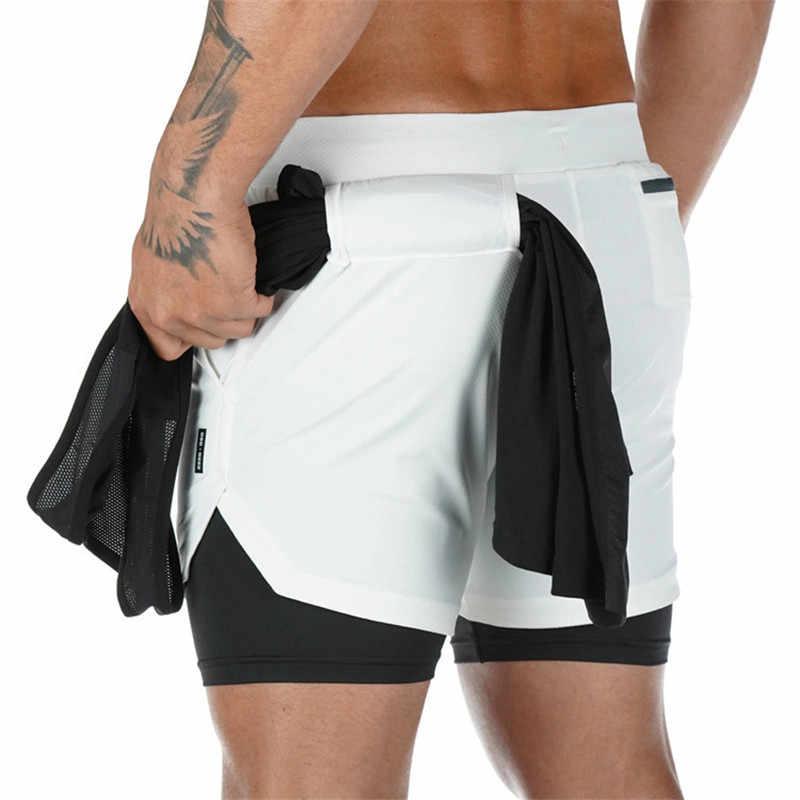 Erkek markası şort koşu şort hızlı kuruyan spor şort spor salonları spor vücut geliştirme egzersiz dahili cepler kısa pantolon erkekler