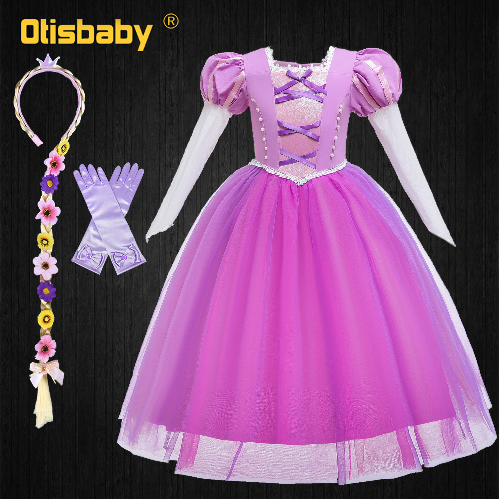 2020 Fantasia Princess Sofia Dress Up Tangled Halloween Carnival Costumes For Girls Long Sleeve Children S Evening Dress Dresses Aliexpress