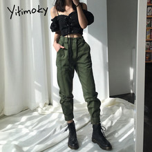 High-Waisted Trousers Sweatpants Cargo Joggers Women Clothes Work-Bottoms Vintage Streetwear